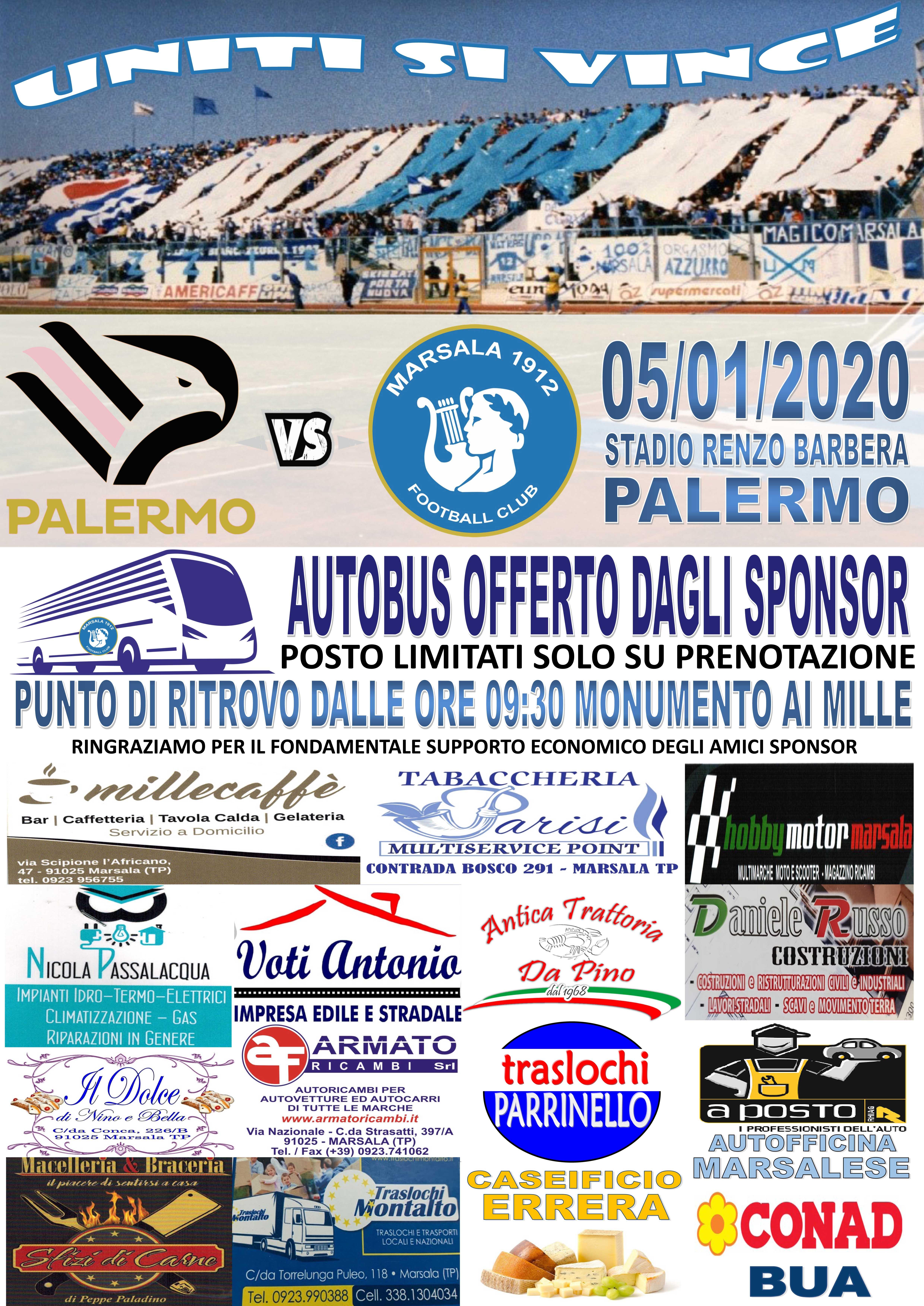 Calcio: un pullman da Marsala per la sfida col Palermo del 5 gennaio