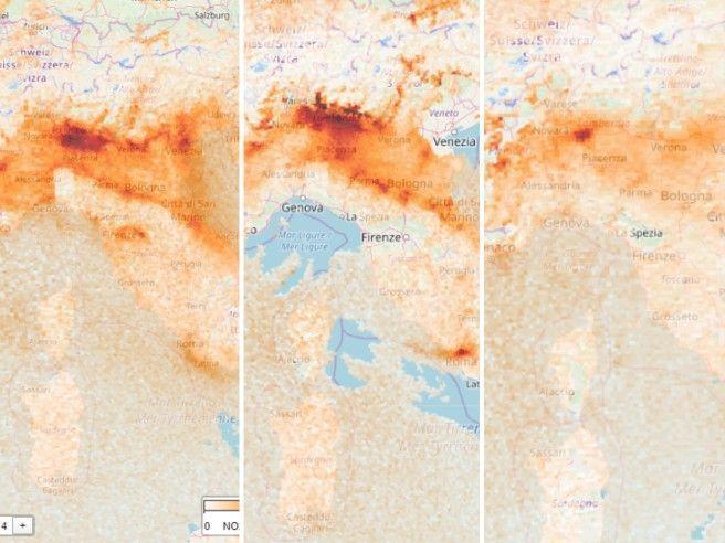 Cala lo smog al Nord: ecco le immagini dal satellite