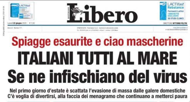 """I titoli di """"Libero"""" che provocano gli italiani"""