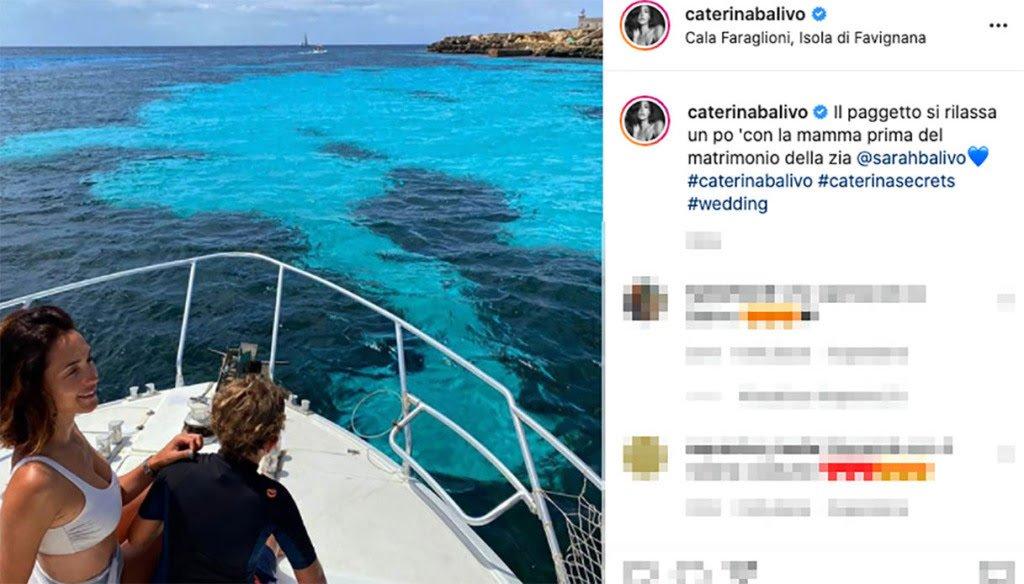 Caterina Balivo in vacanza a Favignana. La sorella Sarah si sposa